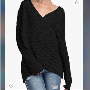 YOINS Sweaters Irregular Hem Cross Front Sweater